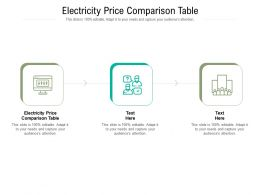Electricity Price Comparison Table Ppt Powerpoint Presentation Professional Graphics Cpb