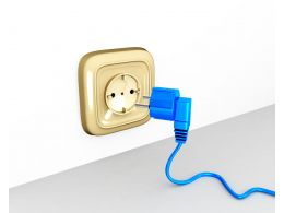 Electricity Socket With Blue Plug Stock Photo