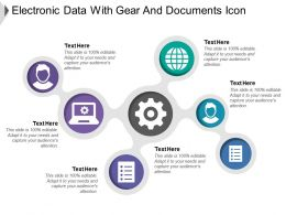 Electronic Data With Gear And Documents Icon