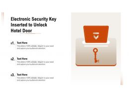 Electronic Security Key Inserted To Unlock Hotel Door