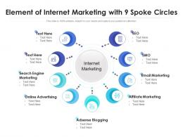 Element Of Internet Marketing With 9 Spoke Circles