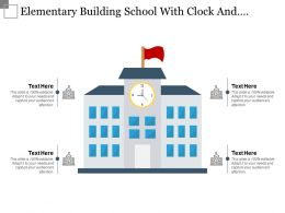 Elementary Building School With Clock And Flag Icon