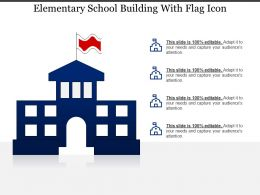 Elementary School Building With Flag Icon