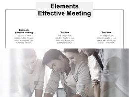 Elements Effective Meeting Ppt Powerpoint Presentation Outline Format Ideas Cpb