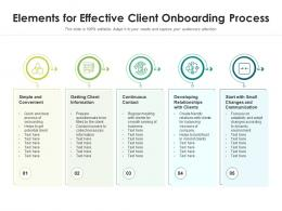 Elements For Effective Client Onboarding Process