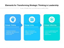 Elements For Transforming Strategic Thinking In Leadership