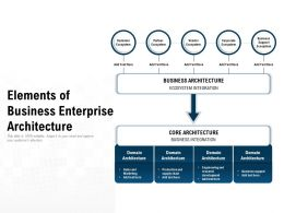 Elements Of Business Enterprise Architecture