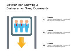 Elevator Icon Showing 3 Businessman Going Downwards