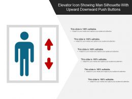 Elevator Icon Showing Man Silhouette With Upward Downward Push Buttons