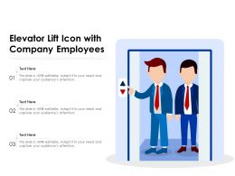 Elevator Lift Icon With Company Employees