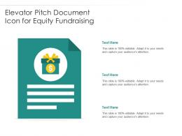 Elevator Pitch Document Icon For Equity Fundraising