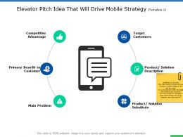 Elevator Pitch Idea That Will Drive Mobile Strategy Target Customers Ppt Slides