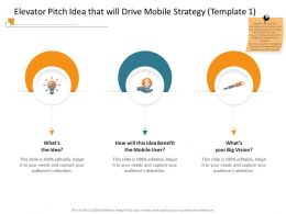 Elevator Pitch Idea That Will Drive Mobile Strategy Template 1 Ppt Powerpoint Presentation Outline