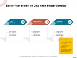 Elevator Pitch Idea That Will Drive Mobile Strategy Template Big Vision Ppt Powerpoint Presentation Portfolio Good