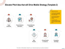 Elevator Pitch Idea That Will Drive Mobile Strategy Template Primary Ppt Powerpoint Summary Microsoft