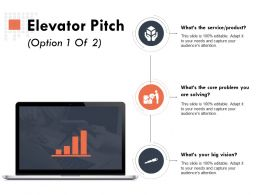 Elevator Pitch Option Marketing Ppt Powerpoint Presentation Outline Designs