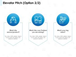 Elevator Pitch Option Problem Ppt Powerpoint Presentation Infographic Template