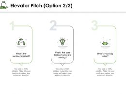 Elevator Pitch Option Product Ppt Powerpoint Presentation Backgrounds
