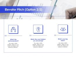 Elevator Pitch Option Service Product Ppt Powerpoint Presentation Visual Aids Backgrounds