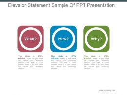 Elevator Statement Sample Of Ppt Presentation