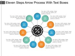 Eleven Steps Arrow Process With Text Boxes