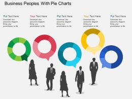Em Business Peoples With Pie Charts Flat Powerpoint Design