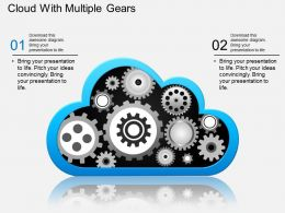em Cloud With Multiple Gears Powerpoint Template