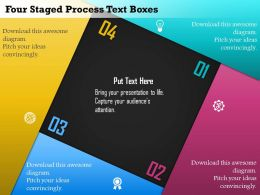 Em Four Staged Process Text Boxes Powerpoint Template