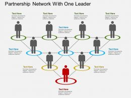 em Partnership Network With One Leader Flat Powerpoint Design
