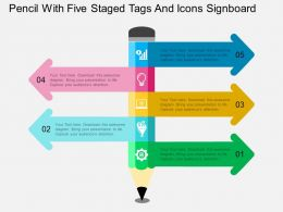 em Pencil With Five Staged Tags And Icons Signboard Flat Powerpoint Design