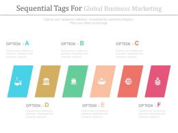 em Six Staged Sequential Tags For Global Business Marketing Flat Powerpoint Design
