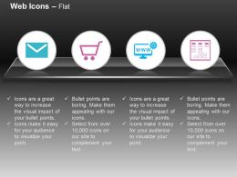 Email Shopping Cart Web Settings Hosting Ppt Icons Graphics