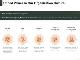 Embed Values In Our Organization Culture Hire Onboard Ppt Powerpoint Presentation Outfit