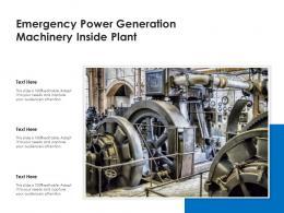 Emergency Power Generation Machinery Inside Plant