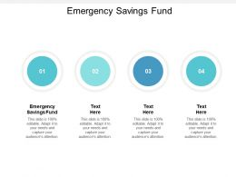 Emergency Savings Fund Ppt Powerpoint Presentation Icon Design Inspiration Cpb