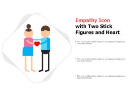 Empathy Icon With Two Stick Figures And Heart