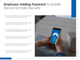 Employee Adding Password To Mobile Device For Data Security