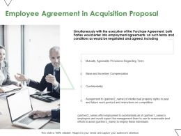 Employee Agreement In Acquisition Proposal Ppt Powerpoint Presentation Icon Diagrams