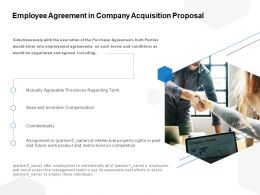 Employee Agreement In Company Acquisition Proposal Ppt Powerpoint Presentation