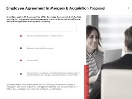 Employee Agreement In Mergers And Acquisition Proposal Ppt Presentation Slides