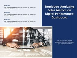 Employee Analyzing Sales Metrics On Digital Performance Dashboard