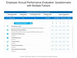 Employee Annual Performance Evaluation Questionnaire With Multiple Factors
