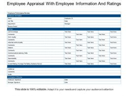 Employee Appraisal With Employee Information And Ratings