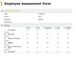 Employee Assessment Form Attendance Punctuality Ppt Powerpoint Presentation