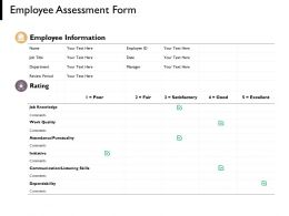 Employee Assessment Form Communication Finance Ppt Powerpoint Presentation Portfolio Deck