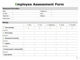 Employee Assessment Form Communication Information Ppt Powerpoint Presentation File Smartart
