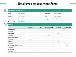 Employee Assessment Form Employee Information Work Quality Ppt Powerpoint Presentation Summary Display