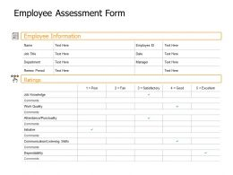 Employee Assessment Form Job Knowledge Ppt Powerpoint Presentation Sample