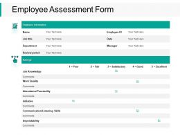 Employee Assessment Form Knowledge Ppt Powerpoint Presentation Examples