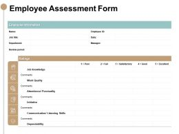 Employee Assessment Form Knowledge Ppt Powerpoint Presentation Pictures Grid